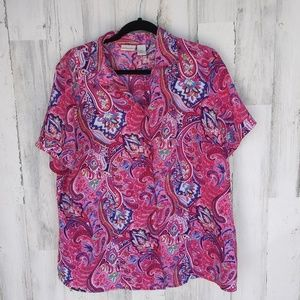 Kim Rogers Colorful Paisley Floral Top